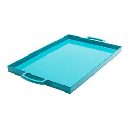 Presentation Tray in Teal - Serve food in style with this melamine serving tray. Large handles make it easy to present your dishes to hungry guests, and its stain- and chip-resistant material keeps it looking shiny and new for many meals to come.