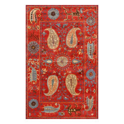 Rugsville - Rugsville  Suzani Red Wool 12086-58 Rug - Rugsville Suzani rug is made with natural dyes and handspun wool. This piece is woven with a fine Suzani design. Weaving takes place primarily in India. This rug matches and even surpasses the quality of the fine rugs woven over 100 years ago. To create such a piece requires the use of only the best materials available: handspun wool.
