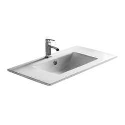 Caracalla - Rectangular White Ceramic Self Rimming bathroom Sink, One Hole - Contemporary design, rectangular white ceramic self rimming bathroom Sink. Stylish self rimming washbasin comes with overflow and an option of one or three pre-drilled holes. Made in Italy by Caracalla.