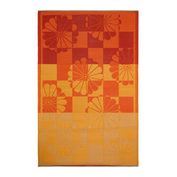 Fab Habitat - Indoor/Outdoor Tahiti Rug, Orange & Yellow, 4x6 - This handsome all-weather rug is woven from recycled plastic, and features a tangy tropical motif. Washable and mildew resistant, it's ideal for the deck, the playroom, the beach — anywhere you want good looks and easy care. Comes with its own tote bag, for convenient transport or storage.