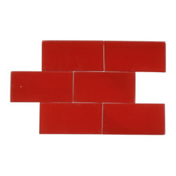 Loft Cherry Red Frosted Glass Tile - LOFTCHERRY REDFROSTED 3x6 SUBWAY TILES This cherry red subway tiles are decorative and durable, making it a great backdrop. The glass tile will reflect the light in your room, giving it a fresh, clean and brighter look. Using a subway tile as a backsplash you will add some color and style to your kitchen decor or any decorated room in your home. It will also give it a more distinct look. Chip Size: 3x6 Color: Cherry Red Material: Glass Finish: Frosted Sold by the Square Foot (8 pieces per square foot) Thickness: 8mm