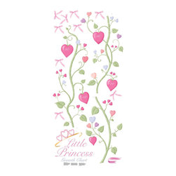 York Wallcoverings - Little Princess Hearts Bows Self Stick Growth Chart Accent - Features: