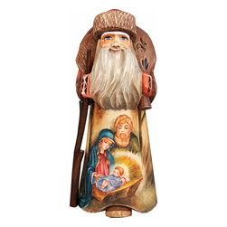"""Artistic Wood Carved Nostalgic Nativity Santa Claus Sculpture - Measures 9""""H x 5.5""""L x 5.5""""W and weighs 5 lbs. G. DeBrekht fine art traditional, vintage style sculpted figures are delightful and imaginative. Each figurine is artistically hand painted with detailed scenes including classic Christmas art, winter wonderlands and the true meaning of Christmas, nativity art. In the spirit of giving G. DeBrekht holiday decor makes beautiful collectible Christmas and holiday gifts to share with loved ones. Every G. DeBrekht holiday decoration is an original work of art sure to be cherished as a family tradition and treasured by future generations. Some items may have slight variations of the decoration on the decor due to the hand painted nature of the product. Decorating your home for Christmas is a special time for families. With G. DeBrekht holiday home decor and decorations you can choose your style and create a true holiday gallery of art for your family to enjoy. All Masterpiece and Signature Masterpiece woodcarvings are individually hand numbered. The old world classic art details on the freehand painted sculptures include animals, nature, winter scenes, Santa Claus, nativity and more inspired by an old Russian art technique using painting mediums of watercolor, acrylic and oil combinations in the G. Debrekht unique painting style. Linden wood, which is light in color is used to carve these masterpieces. The wood varies slightly in color."""