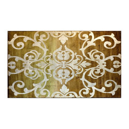 """Vertuu Design - 'Caylee II' Artwork - Style your traditional space with the elegant """"Caylee II"""" Artwork. This piece's intricate white scroll design is juxtaposed with a distressed wood background to create a feminine, rustic look. Silver leaf accents add texture and shine to this hand-painted canvas."""