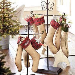 Ballard Designs - Floor Stocking Holder - Protective felt bottom. After the holidays, use it for towels beside the tub. Simple assembly required. This large, cast iron stocking holder is a Ballard classic everyone can love. A stylish alternative to the traditional mantel, it's designed to work with any decor, from traditional to contemporary. Base is heavy and solid, so it can hold lots of stocking goodies. Floor Stocking Holder features: . . .