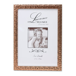 Lawrence Frames - 5x7 Rose Gold Shimmer Metal Picture Frame - Beautiful decorative rose gold metal picture frame with a gorgeous shimmer effect created by this frame's sequin pattern.  This metal frame has a rich and lustrous finish.  High quality black  velvet backing with easel for vertical or horizontal tabletop display, and comes with hangers for vertical or horizontal wall mounting.    Heavy weight cast metal picture frame is made with exceptional workmanship and comes individually boxed.  In this style the 8x10 size comes with a white acid free bevel cut mat for a 5x7 photo.