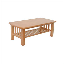 Elite Products - Elite Stanford Rectangular Wood Top Coffee Table with Slatted Magazine Shelf - Elite Products -Coffee Tables -382044010 -Simple and smooth the Elite Stanford Coffee Table will lighten up your living area. It takes classic mission style design and pairs with modern building technology. With a choice of three warm oak and walnut wood finishes the Stanford Coffee Table features a bottom slated magazine rack to keep your surface tidy for everyday use.