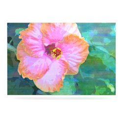 """Kess InHouse - Sylvia Cook """"Hibiscus"""" Green Pink Metal Luxe Panel (24"""" x 36"""") - Our luxe KESS InHouse art panels are the perfect addition to your super fab living room, dining room, bedroom or bathroom. Heck, we have customers that have them in their sunrooms. These items are the art equivalent to flat screens. They offer a bright splash of color in a sleek and elegant way. They are available in square and rectangle sizes. Comes with a shadow mount for an even sleeker finish. By infusing the dyes of the artwork directly onto specially coated metal panels, the artwork is extremely durable and will showcase the exceptional detail. Use them together to make large art installations or showcase them individually. Our KESS InHouse Art Panels will jump off your walls. We can't wait to see what our interior design savvy clients will come up with next."""