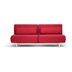 Red Fabric 2-Seat Sofa Chair Convertible Set