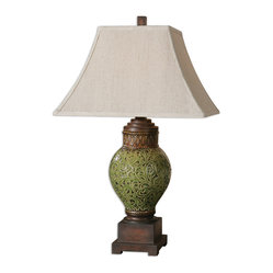 Uttermost - Aliano Crackled Green Lamp - Looks like leafy greens are a healthy choice for your home decor, too. Take this elegant green leaf scroll ceramic and rusty brown table lamp, with its handsomely weathered look. The rectangular bell shade means you can move this buffet lamp near a wall, window or next to the radicchio salad.