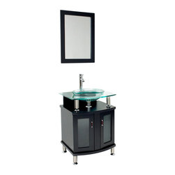 "Fresca - Fresca Contento 24"" Modern Bathroom Vanity w/Tempered Glass Sink - A tempered glass basin hovers above this chic, modern bathroom vanity. The octangular storage unit beneath the floating sink offers much needed space for your personal and paper products. You will linger when brushing your teeth, enjoying quality and style of your snazzy new sink … your dentist will be so happy."