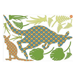 """Brewster Home Fashions - Joey The Kangaroo Wall Art Kit Decal - Add a bouncy down under swagger to your kids decor with this cute kangaroo wall art. A retro floral print fills the silhouette style baby and mama kangaroo which comes with lots of lush botanical accents. This wall art kit comes on one 24"""" x 36"""" sheet and contains 14 individual pieces."""