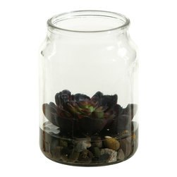"""D&W Silks - Artificial Echeveria Plant Succulent in Candle Jar - It's amazing how much adding a plant can change the look of a room or decor, but it can be difficult if your space is not conducive to growing plants, or if you weren't exactly born with a """"green thumb."""" Invite the beauty of nature into your home without all the upkeep with this maintenance-free, allergy-free arrangement of an artificial echeveria plant succulent in a candle jar. This is not a living plant."""