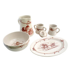 Sky Ranch - Sky Ranch Western Dinnerware Serving Set - Enjoy a Texas themed table with this Sky Ranch vintage design dinnerware 6 pc serving set from our Texas Dinnerware collection.