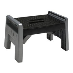 "COSCO PRODUCTS - 1 Step Folding Stool - Lightweight, all-plastic design. Legs lock into position; ""locked"" indicator is visible on top. Folds to 3-3/8"" for compact storage. Top side walls help prevent accidental slipping. Convenient handle for carrying ease. Weight capacity - 200 pounds. Dimensions: Open - 10""H x 16.25""W x 11.25""D. Folded - 3.38""H x 20.13""W x 11.25""D. 200 Pound Working Load Limit Color: Black/Platinum"