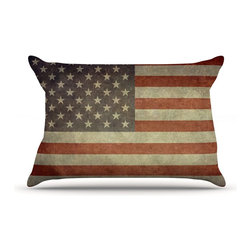 """Kess InHouse - Bruce Stanfield """"Flag of US Retro"""" Rustic Pillow Case, Standard (30"""" x 20"""") - This pillowcase, is just as bunny soft as the Kess InHouse duvet. It's made of microfiber velvety fleece. This machine washable fleece pillow case is the perfect accent to any duvet. Be your Bed's Curator."""