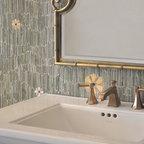 Meadow Stone Mosaic - Meadow, a natural stone mosaic backsplash, shown in  Kay's Green, Wujan Jade, Chartreuse tumbled, Emperador Dark, Joanna, Blush, Rosa Noreiga, Thassos and Rosa Portogallo polished, is part of the Metamorphosis Collection by Sara Baldwin for New Ravenna Mosaics.