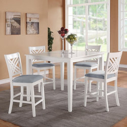 Standard Furniture - Standard Furniture Brooklyn 5 Piece Counter Height Dining Table Set - White - 18 - Shop for Dining Sets from Hayneedle.com! Freshen the look of your dining space with the Standard Furniture Brooklyn 5 Piece Counter Height Dining Table Set - White. Designed to get noticed this set includes a counter-height table and four chairs. All are made of hardwood solids and quality engineered wood products in a bright white stain. The chairs feature an X lattice back and gray upholstered seats.About Standard FurnitureFounded in 1946 as a family owned American-based company Standard Furniture operates their own manufacturing and distribution facilities in Bay Minette and Frisco City Alabama with more than 80% of their entire workforce based out of the United States. Their 1.4 million square feet of manufacturing space 1.5 million square feet of warehouse space and more than 40 trucks enable them to keep up with customer demand. Their main focus is to assist their customers in growing their retail businesses by supplying products that will sell due to quality design and value. As one of the leading case goods manufacturers in the market Standard Furniture's continual growth and presence in the market place has remained steady over the last 60 years.