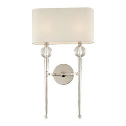 Hudson Valley - Rockland Polished Nickel Two-Light Wall Sconce - - Topped by a soft-white fabric shade, the tapered wand of the Rockland sconce showcases the glamour of shining crystal orbs. While the Polished Nickel finish projects a mirror-like shine, its warm tone complements the shade?s soft hue  - Clip Shade Attachment   - Bulb is not included Hudson Valley - 8422-PN