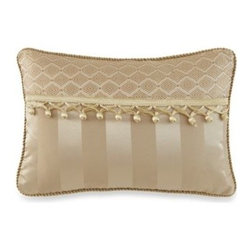 Waterford - Waterford Anya Boudoir Toss Pillow - This beautiful Anya boudoir pillow showcase wide stripes in shades of gold with gold tassels that fills out the opulent and luxurious look of this ensemble.