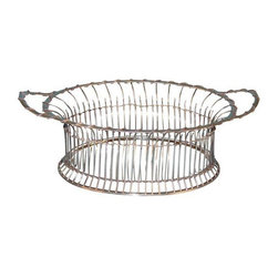 """Used Sterling Silver Basket c.1898 - An elegant English sterling silver oval basket with delicate silver rope-work wrapping the rim and handles. The basket includes the maker's mark """"WC."""" and was produced circa 1898."""