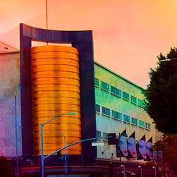 "Andrea Reider Photography - May Company Building/LACMA West 12"" x 8"" Photocolorized Metal Print - This photocolorized image is part of a series of colorized photographs, mostly of landmark buildings and sites in Los Angeles. I developed a unique process for colorizing photographs, blending up to 5-6 images of ""colored light"" and creating striking effects and colors."