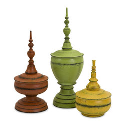 Old World Tuscan Color Finials- Set of 3 - *Exclusive design., this set of three misa finials come in bright colors with a weathered look.