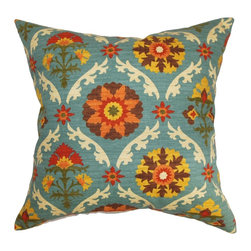 "The Pillow Collection - Kachine Floral Pillow Autumn - This visually stimulating throw pillow is a brilliant option to reinvent your decor style affordably. This square pillow features a tribal-inspired floral patterns which incorporates various colors like yellow, orange, blue, white and brown. Toss this decor pillow on your floor, couch, sofa or bed to add texture and comfort. This 18"" pillow is made from 100% high-quality cotton material. Hidden zipper closure for easy cover removal.  Knife edge finish on all four sides.  Reversible pillow with the same fabric on the back side.  Spot cleaning suggested."