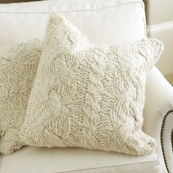 Ballard Designs - Wiltern Knit Pillow - This pillow comes in a gorgeous winter white, and I love the big, chunky pattern.