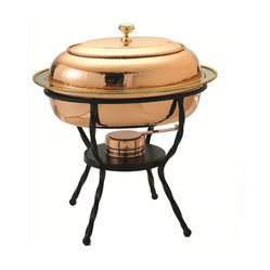 "16½"" x 12¾"" x 19"" Oval Décor Copper over S/S Chafing Dish, 6 Qt."