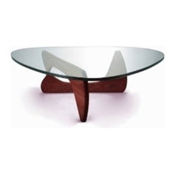 Lemoderno - Fine Mod Imports  Tribeca Coffee Table, Cherry - This table consists of three basic parts a beautiful glass top and two interlocking wood base pieces. This classic design was first produced in 1944 15mm thick tempered glass Solid wood base   Assembly Required