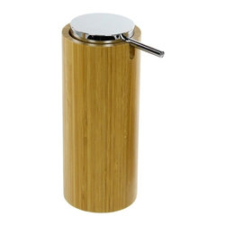Gedy - Round Free Standing Soap Dispenser in Natural Wood Finish - Add this high-end, contemporary lotion/soap dispenser to your already contemporary & modern bath and never have to worry about how to keep soap handy again.