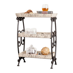 Holly & Martin - Holly & Martin Notre Dame 3-Tier Stand - This vintage-inspired, three-tier stand will infuse your favorite room with the allure of travel and adventure. The metal frame's romantic scrollwork and the charming, postcard-inspired designs on the burlap shelves create an elegant piece that you'll be able to use for storage and display.