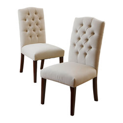Great Deal Furniture - Clark Dining Chairs (Set of 2), Natural Linen - The Clark dining chairs are beautifully built from hardwood, with fully cushioned seat and backrest. Their elegant and simple design make these chairs great pieces for your dining space and can be used for additional seating.