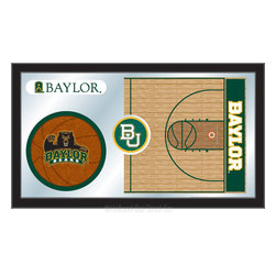 "Holland Bar Stool - Holland Bar Stool Baylor Basketball Mirror - Baylor Basketball Mirror belongs to College Collection by Holland Bar Stool The perfect way to show your school pride, our basketball Mirror displays your school's symbols with a style that fits any setting.  With it's simple but elegant design, colors burst through the 1/8"" thick glass and are highlighted by the mirrored accents.  Framed with a black, 1 1/4 wrapped wood frame with saw tooth hangers, this 15""(H) x 26""(W) mirror is ideal for your office, garage, or any room of the house.  Whether purchasing as a gift for a recent grad, sports superfan, or for yourself, you can take satisfaction knowing you're buying a mirror that is proudly Made in the USA by Holland Bar Stool Company, Holland, MI.   Mirror (1)"