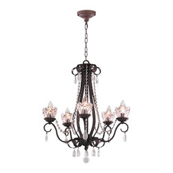 """Worldwide Lighting - Gardenia 5 Light Dark Bronze Finish & Clear Crystal Chandelier 23"""" D x 26"""" H - This stunning 5-light Chandelier only uses the best quality material and workmanship ensuring a beautiful heirloom quality piece. Featuring a handsome dark bronze finish and beautiful curved arms that support 5 crystal candelabra lights, the clean-lined design of this chandelier will add warmth and sophistication."""