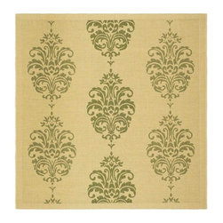 Safavieh - Country Square Rug in Natural and Olive (6 ft. 7 in. x 6 ft. 7 in.) - Size: 6 ft. 7 in. x 6 ft. 7 in. Specially-developed sisal weave. Power loomed. Intricate and elaborated design. Machine made. Made from polypropylene. Made in Belgium. Safavieh takes classic beauty outside of the home with the launch of their Courtyard Collection. Care Instructions: Vacuum regularly. Brushless attachment is recommended. Avoid direct and continuous exposure to sunlight. Do not pull loose ends; clip them with scissors to remove. Remove spills immediately; blot with clean cloth by pressing firmly around the spill to absorb as much as possible. For hard-to-remove stains professional rug cleaning is recommended.