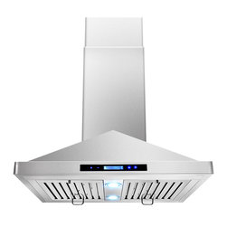 "AKDY - AKDY AG-Z9001 Euro Stainless Steel Island Mount Range Hood, 30"" - This 30 in. convertible island-mount canopy hood not only provides excellent performance, but looks great as well. It features a powerful 870-CFM motor and has three fan-speed settings and 6 in. round duct to work perfectly with your needs. The dishwasher-safe baffle filter is a breeze to clean up, and optional recirculating kits are available. Its sleek stainless steel design brings more elegance to your kitchen. Model available in 30"", 36"" and 48""."