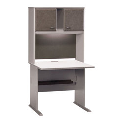 "Bush - Bush Series A 36"" Computer Desk with Hutch in Pewter - Bush - Office Sets - WC14536PKG1 - Bush Series A 36"" Wood Hutch in White Spectrum and Pewter (included quantity: 1)  Bush Business Furniture presents this Series A Collection 36"" Hutch that sits atop the Bush 36"" Desk (sold separately). This economical hutch makes a private and efficient haven out of any workspace, giving you both improved storage capacity and peace of mind.  Features:"