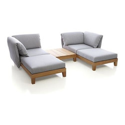 Party 2 Chaise Sectional with Coffee Table - Paola Navone's Party furniture collection is dedicated to the pleasure of relaxing outdoors with friends. Everything is modular and easy to move, mix, change…whether you have a small group or a large crowd.