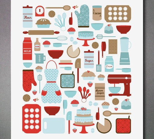 Today I Feel Like Baking Print - This print may just inspire you to redo your entire kitchen in one of my favorite color combinations, red and turquoise. It has a fun retro feel and is full of charming renderings of cut options.