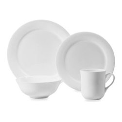"""Wedgwood - Wedgwood Gourmet 4-Piece Place Setting - This traditional bone china complements a classic table setting with its simply white design. 4-piece set includes 10 1/4"""" dinner plate, 8 3/4"""" salad plate, 8 1/2"""" cereal bowl, and 12-ounce mug."""