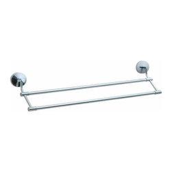 Smedbo - Smedbo Studio Double Towel Rail, 24 Inch, Polished Chrome - Smedbo Studio Double Towel Rail, 24 Inch, Polished Chrome
