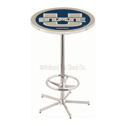 Holland Bar Stool - Holland Bar Stool L216 - 42 Inch Chrome Utah State Pub Table - L216 - 42 Inch Chrome Utah State Pub Table  belongs to College Collection by Holland Bar Stool Made for the ultimate sports fan, impress your buddies with this knockout from Holland Bar Stool. This L216 Utah State table with retro inspried base provides a quality piece to for your Man Cave. You can't find a higher quality logo table on the market. The plating grade steel used to build the frame ensures it will withstand the abuse of the rowdiest of friends for years to come. The structure is triple chrome plated to ensure a rich, sleek, long lasting finish. If you're finishing your bar or game room, do it right with a table from Holland Bar Stool.  Pub Table (1)