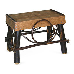 Genesee River - Rustic Footstool - Handcrafted in Pennsylvania this hickory and oak footstool has a tenoned base with oak slatted top in stained finish. Not for outdoor use.