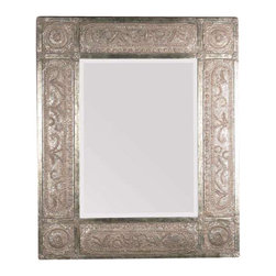 "Uttermost Harvest Serenity Champagne Gold Mirror - Heavily distressed golden-champagne leaf with black undertones, deep red dry brushing and a heavy rusty tan wash. This ornate frame features heavily distressed, golden champagne leaf with black undertones, deep red dry brushing and a heavy, rusty tan wash. Mirror has a generous 1 1/4"" bevel. May be hung either horizontal or vertical."