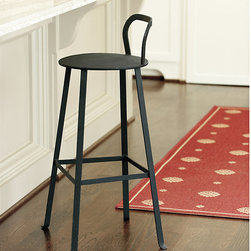 Ballard Designs - Rutland Barstool - Powder coated. Resists rust & moisture. Crafted in the USA. With its pure, simple design, this natural iron barstool has a sculptural look that works with any decor. Perfect for perching indoors or out, the gently curved back is just the right height and comfortable shape to support your lower back.Rutland Iron Barstool features:. . .