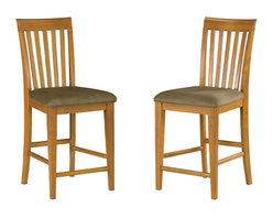 Atlantic Furniture - Atlantic Furniture Mission Pub Chair in Caramel Latte (Set of 2) - Atlantic Furniture - Bar Stools - AD771237 - The Atlantic Furniture Mission Pub Chairs are constructed from Eco-friendly solid hardwood and have an elegant Caramel Latte wood finish. This set of two pub chairs feature a vertical slat back design and a Cappuccino colored seat cushion. The Mission Pub Chairs are perfect for a casual dining room setting.