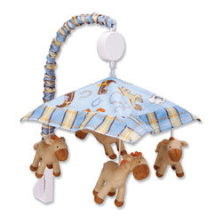 """Trend Lab - Mobile - Cowboy Baby - Encourage eye tracking and sound perception skills with this Cowboy Baby Musical Mobile by Trend Lab. Mobile canopy features a cowboy themed scatter print framed by a plaid print in chocolate brown, dusk blue, burnt orange, cream, desert sand, powder blue and caramel. Four matching plush horses are suspended from decorative white ribbon and slowly rotate to Brahms' Lullaby. Mobile easily attaches to most cribs. Mobile measures 18"""" tall by 20"""" wide. This mobile coordinates with the Cowboy Baby collection."""