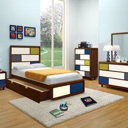 Kids Furniture - Designed for Paul Frank, Enzo holds true to the image of fun with its asymmetrical look . Choose from either a white veneer case or a cherry veneer case. Each version uses vivid palettes to bring character into the bedroom.